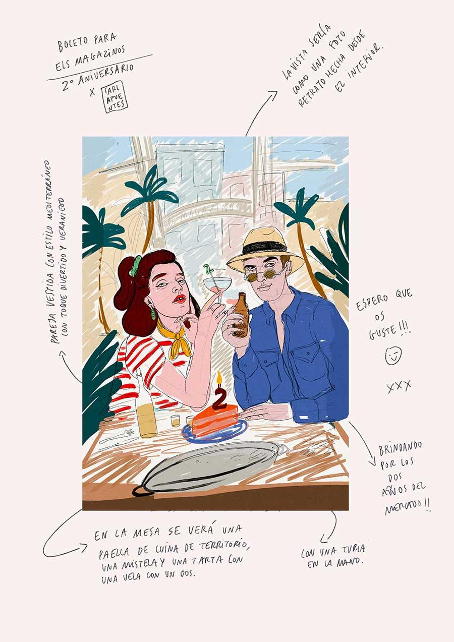 Boceto_Cartel-Els-Magazinos-celebra-su-segundo-aniversario-con-la-imagen-de-Carla-Fuentes-2a