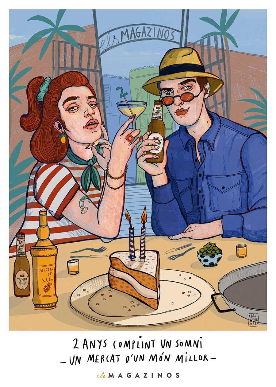 Cartel-Els-Magazinos-celebra-su-segundo-aniversario-con-la-imagen-de-Carla-Fuentes-2a