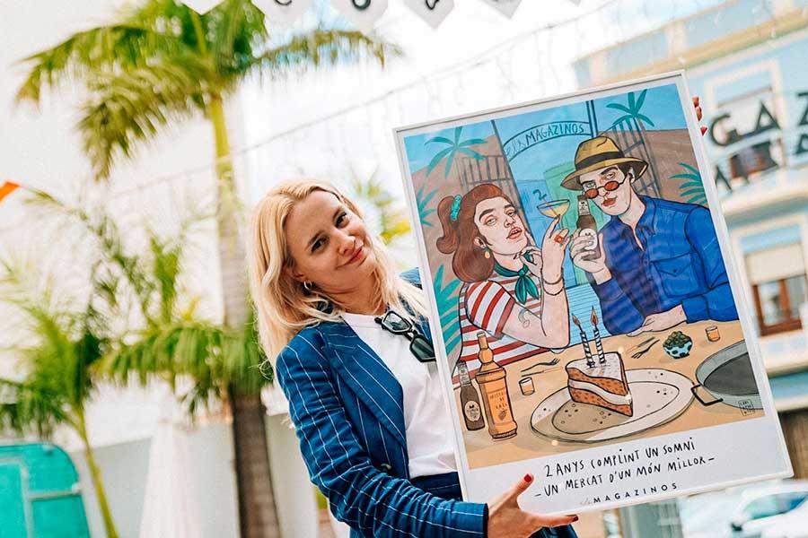 Cartel-Els-Magazinos-celebra-su-segundo-aniversario-con-la-imagen-de-Carla-Fuentes-11a