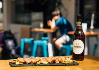 Ostrarium: Tataki de atún con carpaccio de naranja, mayonesa de cítricos y wasabi
